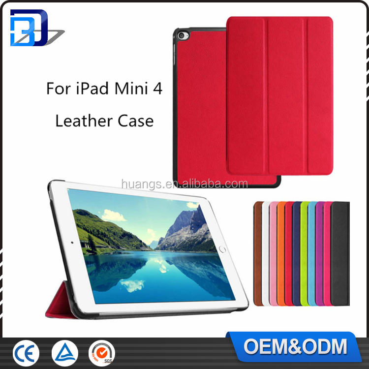 Ultra Slim Three Folds Stand Smart Tablet Leather Folio Case Cover For iPad Mini 4 with Auto Sleep/Wake Feature