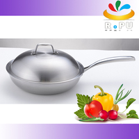 tri-ply synthesize magnetic stainless steel wok hotel kitchenware nonstick cooking wok