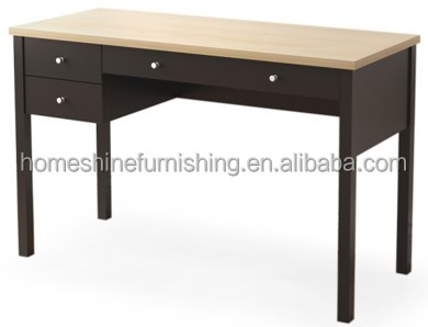 wooden top board straight line writing desk with metal handle drawers