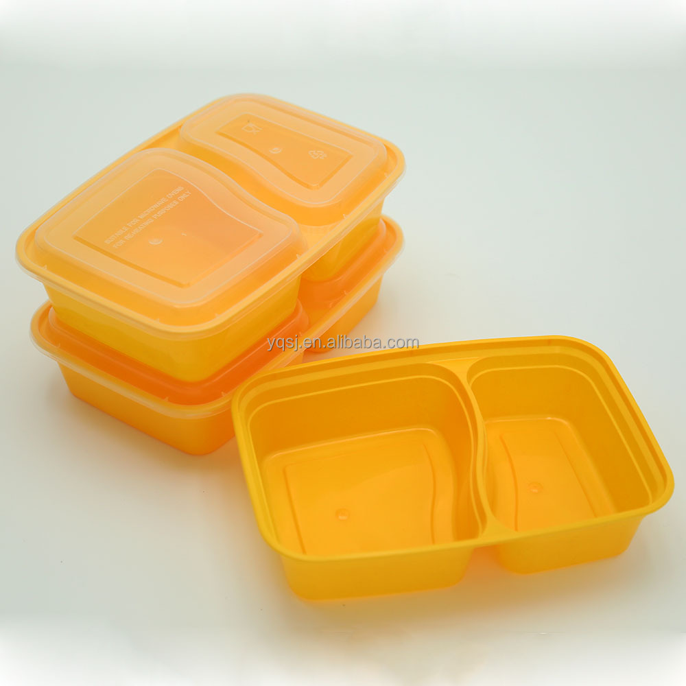 wholesale disposable plastic 1000ml two compartments food storage containers microwavable wholesaler