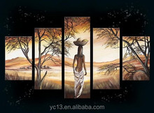 5pcs panel african women oil paintings