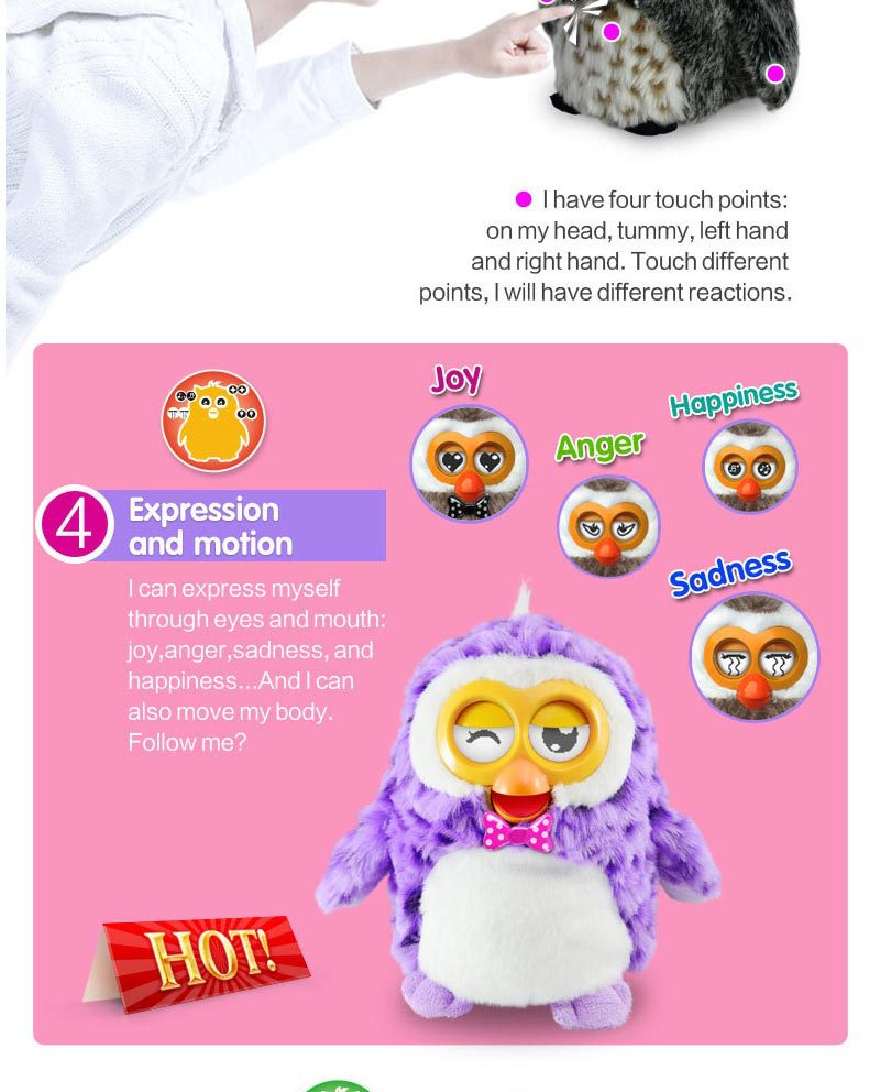 2015 Hot sell plush toy talking toys for kids - Hibou