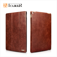 ICARER Genuine Leather Wallet Case For Apple iPad Pro Tablet Real Leather Folio Cover With Wake Up / Sleep Function