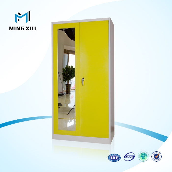 Luoyang mingxiu high quality 2 door wardrobe / metal clothes cabinets