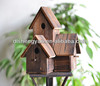 Wholesale Natural Wood Craft Double Bird Houses Garden Decoration
