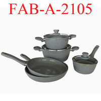 Dark Color Forged Aluminum Marble Coated Cookware Sets