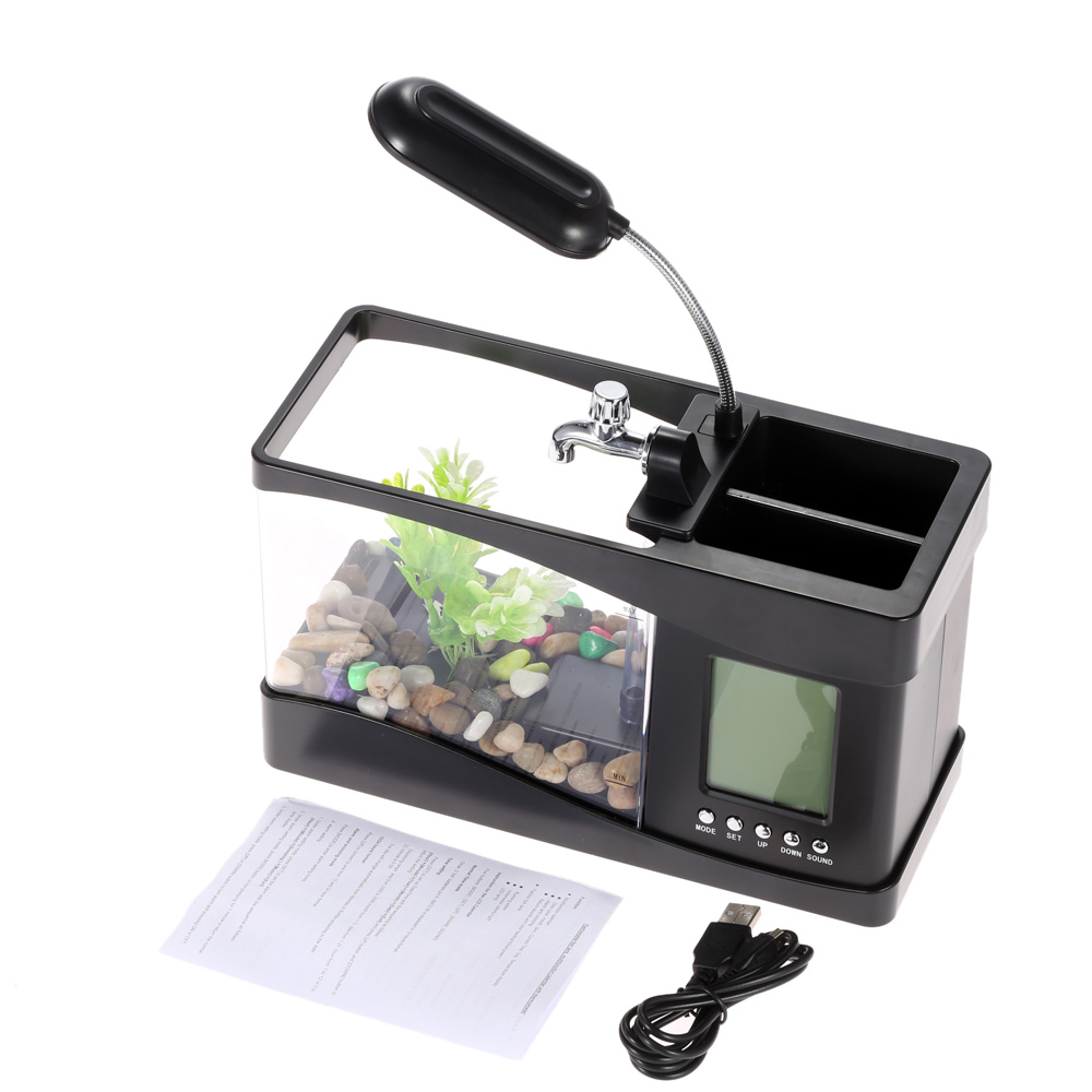 Usb Mini Fish Tank Desktop Electronic Aquarium Mini Fish Tank with Water Running LED Pump Light Calendar Clock White Black