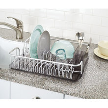 Rustproof Silver Aluminum Kitchen Dish Drainer Rack for Drying Glasses