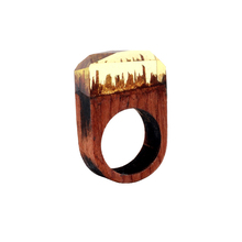 Fashion Handmade Wood Secret Ring Magical Yellow Forest Mystery Scenery Inside Resin Ring for Women Men Luxurylife