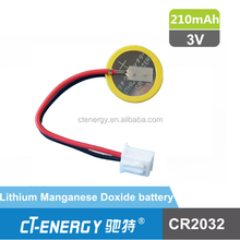 CMOS Battery CR2032 3V 210mAh CR2032 with wire and connector