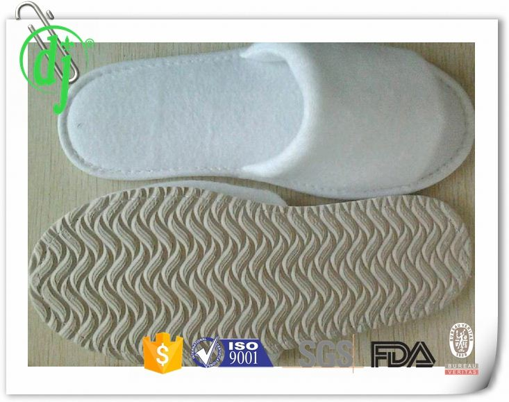 embroidery slipper /open toe nap fabric hotel slipper