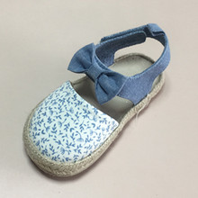 espadrille baby shoes with chambray and printing canvas for kids shoes