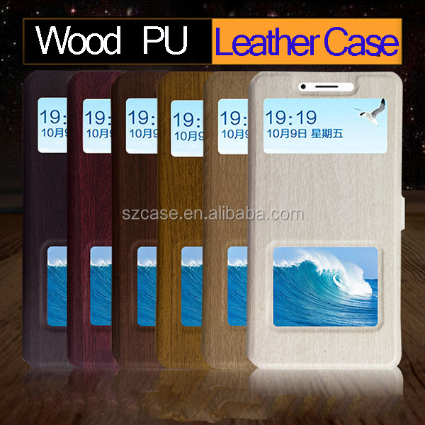 Fashion Wood Design pu leather window case cover for miui note for MI Note