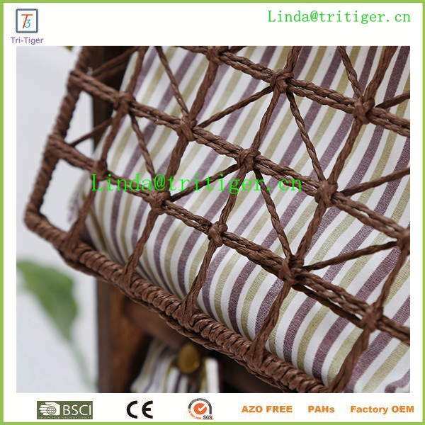 Straw bulrush open weave square basket with fabric liner