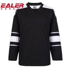 custom design personalized unique printing logo practice team black ice hockey jerseys cheap Wholesale hockey uniforms