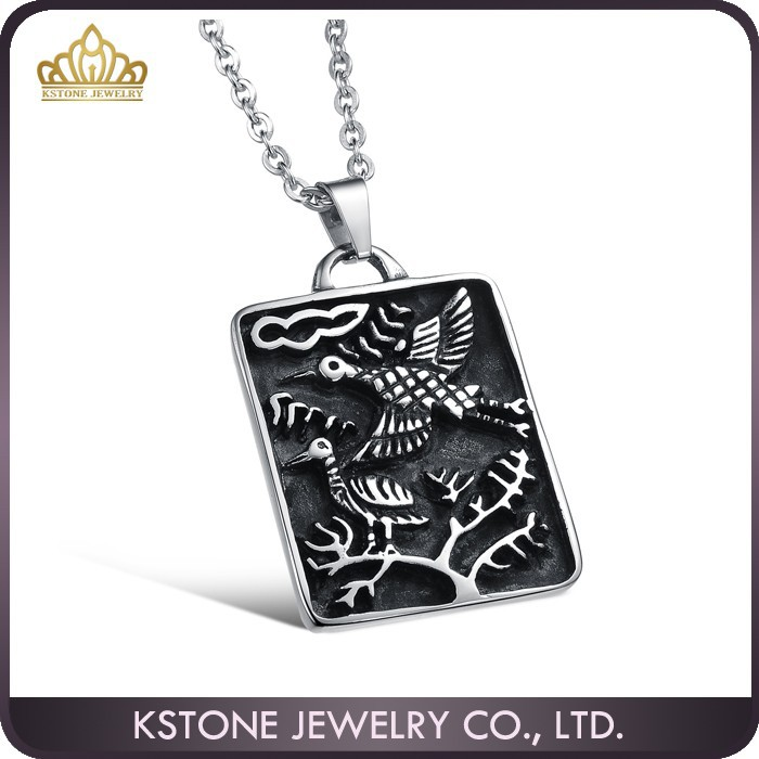 KSTONE Wholesale fashion stainless steel branch and birds pendant necklace