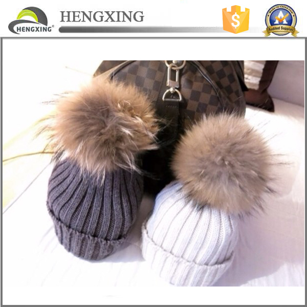 Fashion Wool Knitted Winter Crochet Winter Hat With Fur Ball