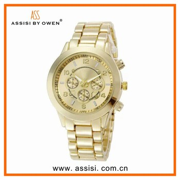 Alloy chain bracelet wrist watch gold plated golden watch for men or women