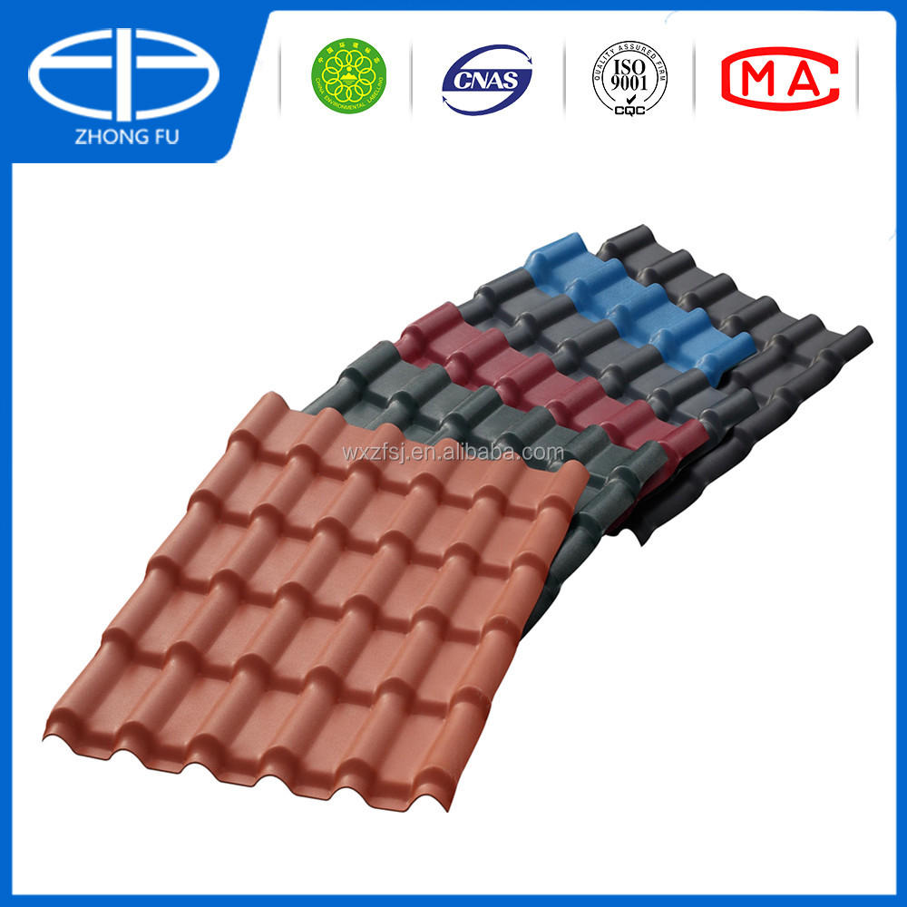 ASA material pvc roof tile spanish roof tile 1050mm width 880 width building material
