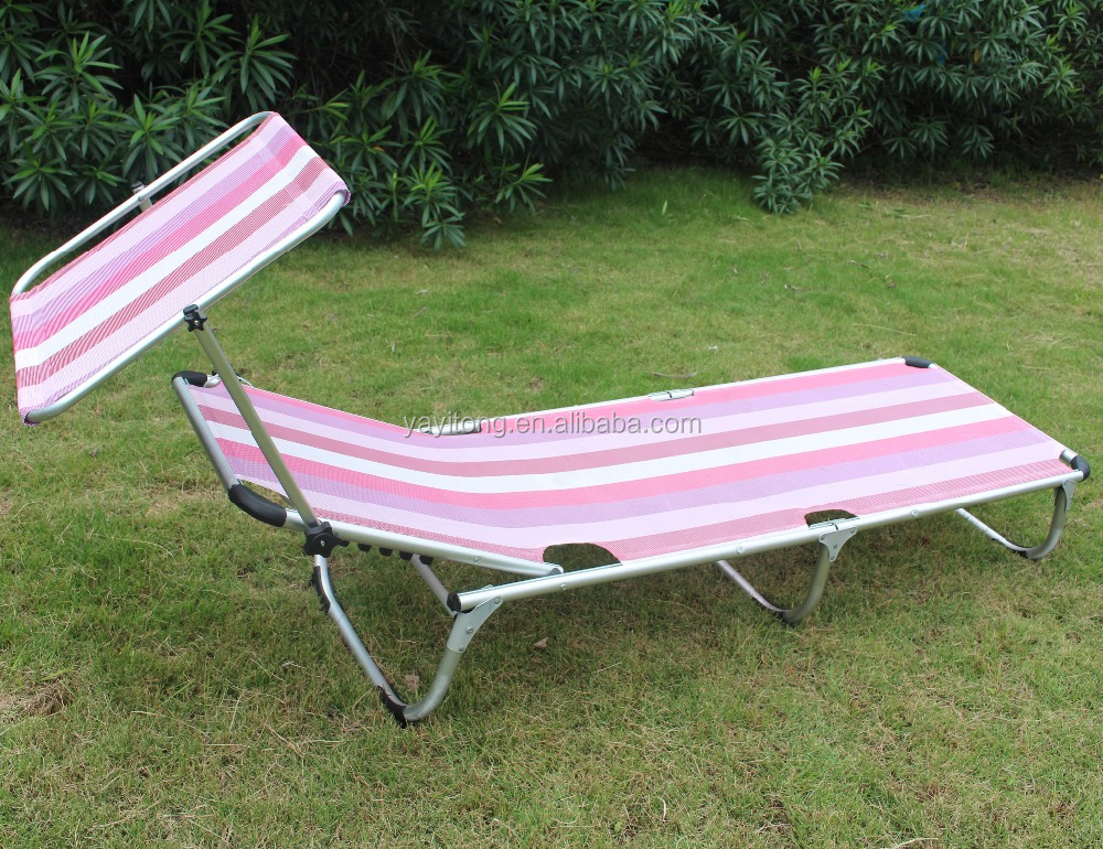Aluminium Folding Tanning Reclining Sun Bed Lounge Pool Sunbed Camping Fishing New Sale Pink Sun Lounger with Canopy