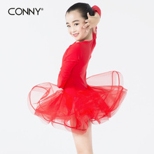 Red long sleeve girls latin dance skirts