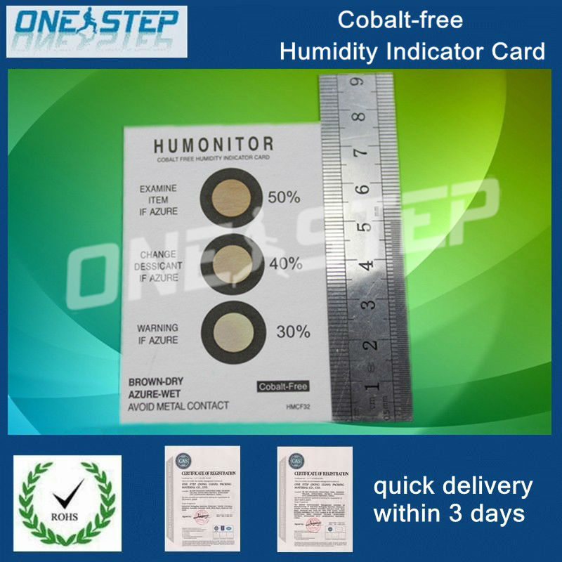 Moistureproof packing cobalt free humidity indicator card