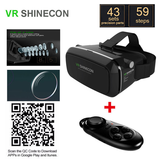 VR Shinecon Google Cardboard VR BOX Virtual Reality VR Glasses 3D Glasses Video Movie Helmet 4.5-6.0 inch+Bluetooth Controller