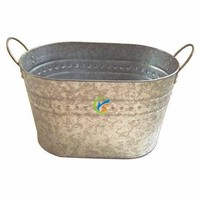 Galvanized simple style oval large metal party tub