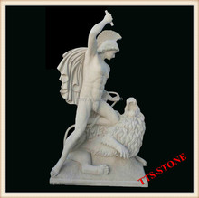 Natural marble stone hunter statue