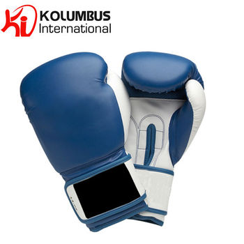 White And Blue Boxing Gloves In Artificial Leather, Boxing Gloves Made In Synthetic Leather, LOW MOQ & PayPal accepted
