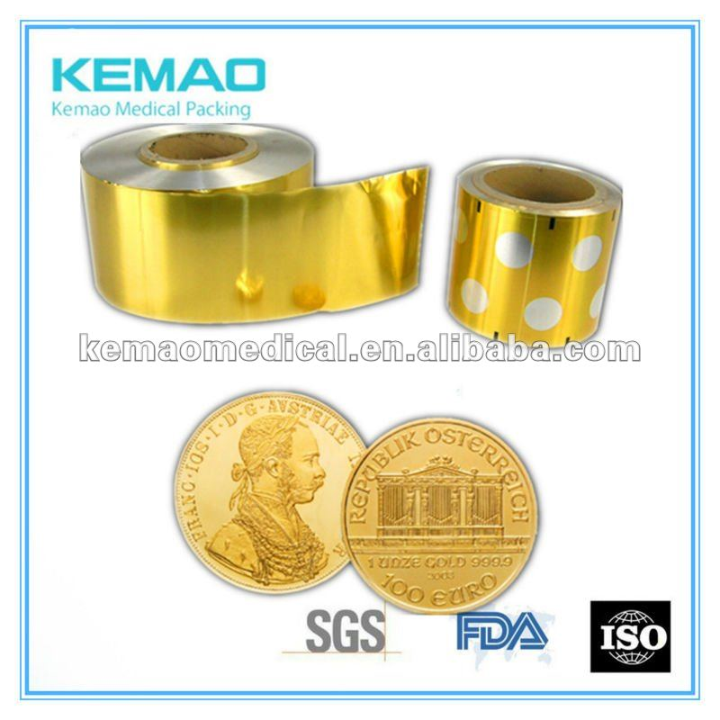 gold coin chocolate aluminum foil pill wrapper