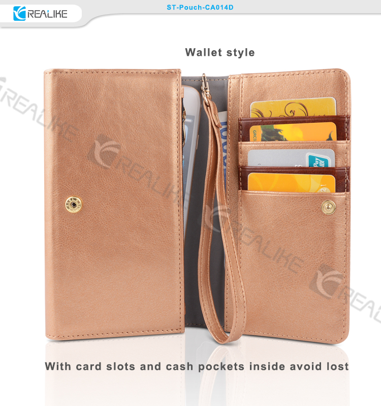 New products 5.5 inch universal leather wallet cell phone case