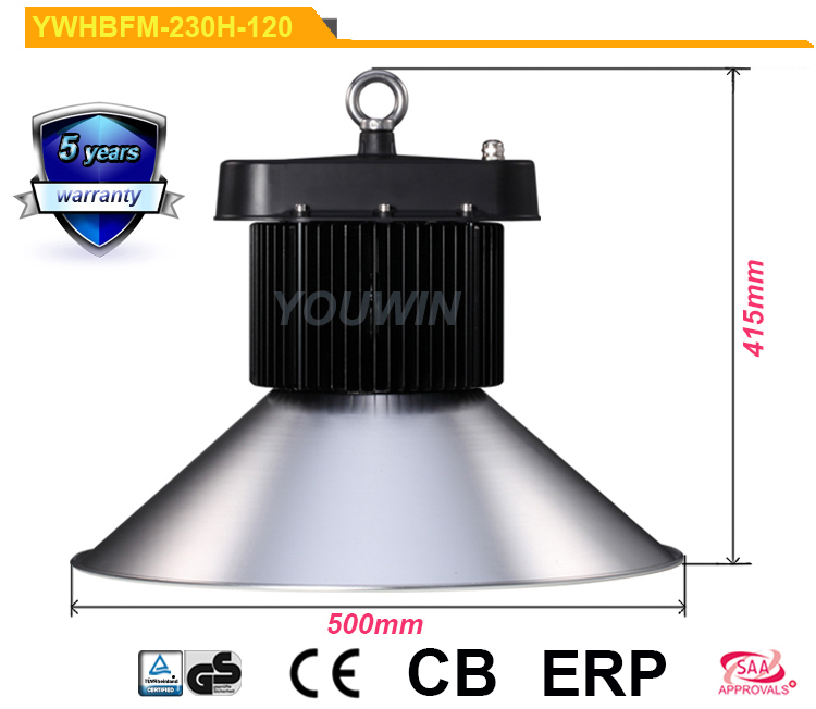 SAA CE RoHS TUV GS approved Meanwell HLG driver 230w lamparas led industriales 25000 lumen