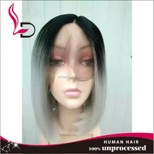 Short cut bob style 100% virgin Brazilian human hair grey lace front wig