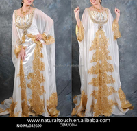 Abaya In Dubai Arabic Kaftan Elegant Beaded Long Sleeve Muslim Evening Dresses (Mu042609)