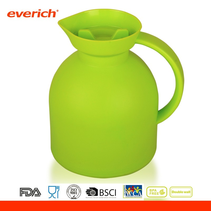 1L Clear Colored Inside Glass and Outside PP Plastic Pitcher With Lid