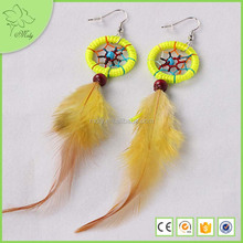 2016 Cheap Feather Earrings Yellow Rooster Feather Earrings Long Feather Earring