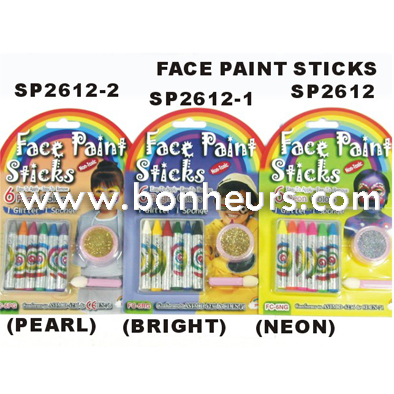 New Novelty Toy Sponge Bright Colors Glitter Face Paint Sticks