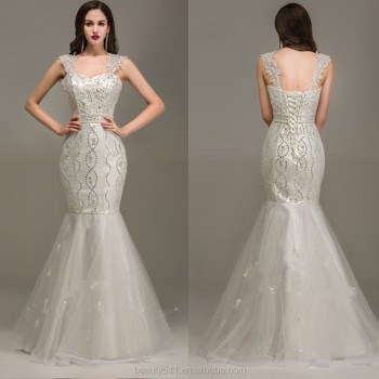 Modern Beaded Sweetheart Straps Sleeveless Sexy Back Floor-length Mermaid Organza wedding dresses WD1649
