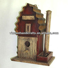 Wooden bird house with metal rusty roof country primitive decor