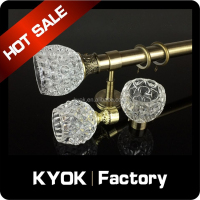 KYOK European style new clear glass curtain rod end caps/finial, wrought iron curtain pole, single curtain pipe wall bracket