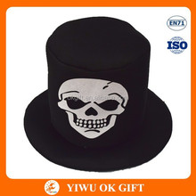 Taffeta Skull flat top fedora hat, Halloween party hat, festival hat