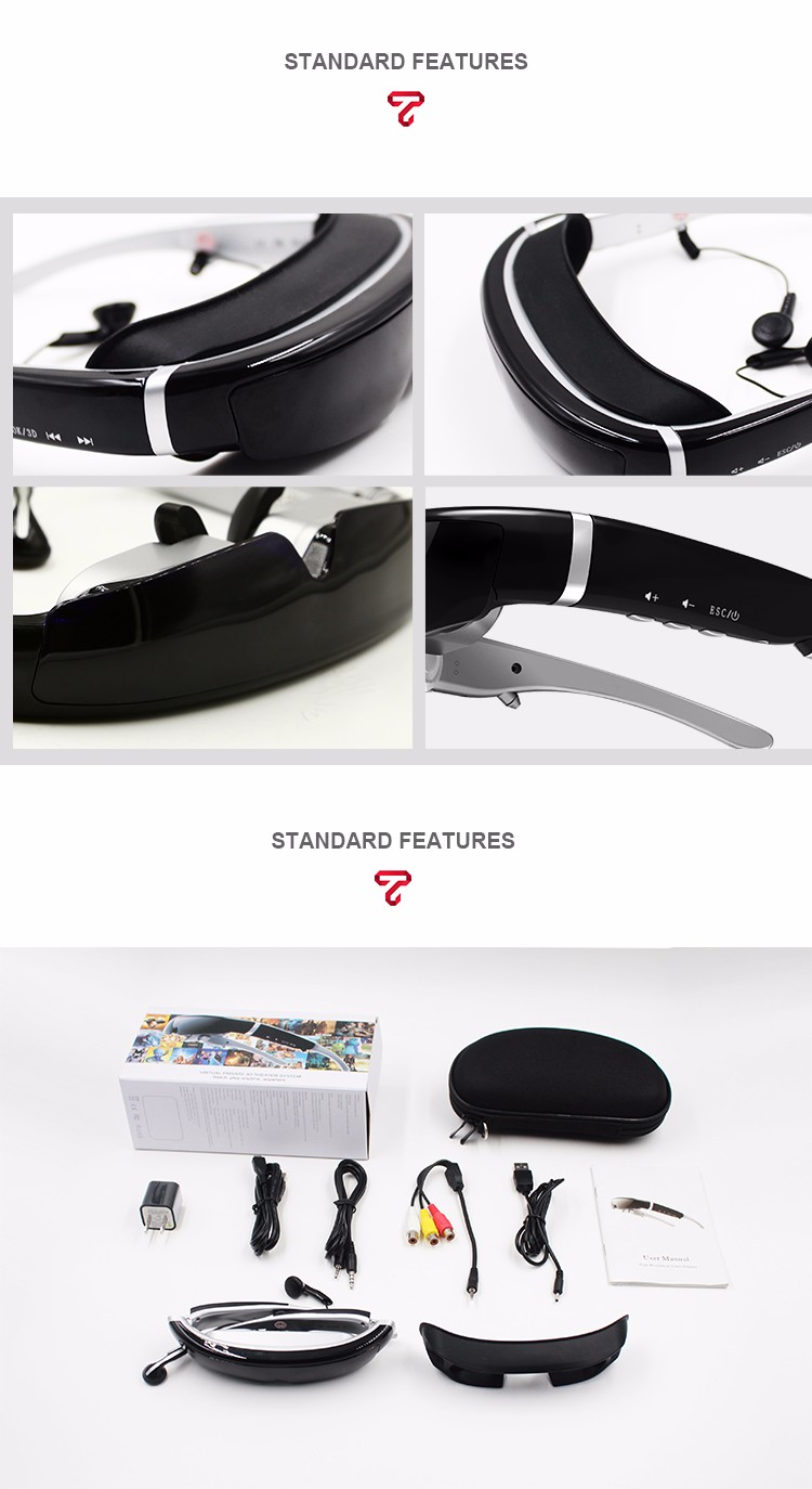 New arrival fashionable newest design 40 channel HD virtual glasses