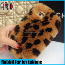 Fashion leopard real rabbit fur phone case for iphone 7,7plus 6s plus, for samsung s7