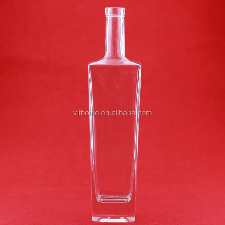 Sealing Electroplated gold 750ml empty alcohol glass bottle