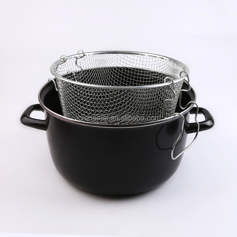 2019 On TV Hot selling deep enamel frying pan for chips frying enamel fryer pot