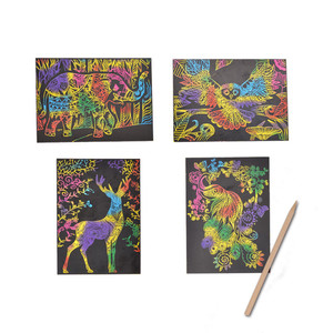 Low Price Animal theme image Kids toy DIY scratch card art paper painting