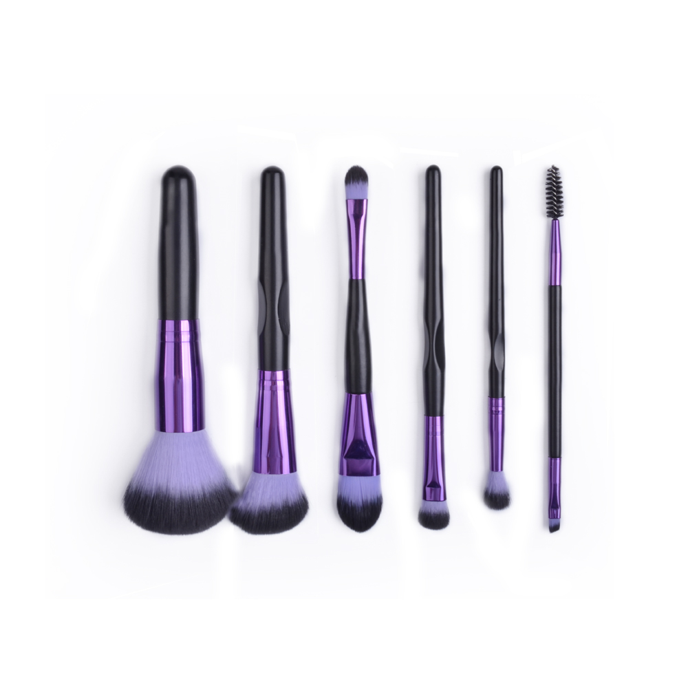 Meidao China Manufacture 6pcs Foundation Powder Concealers Eye Shadows Purple Makeup Brushes
