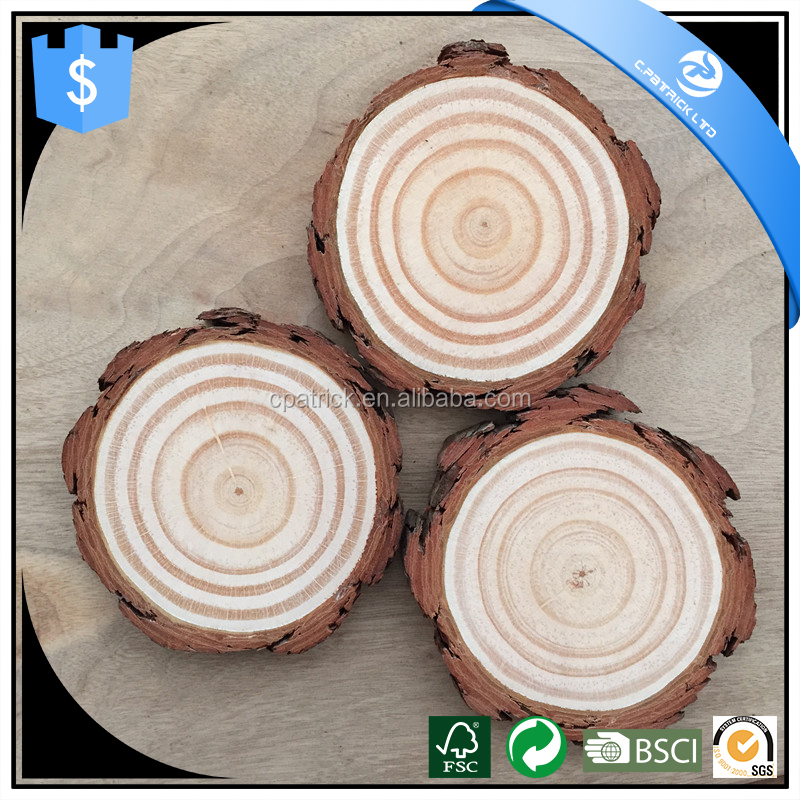 Round Wood Cut Pieces Natural Decoration Wood Log Craft Slice