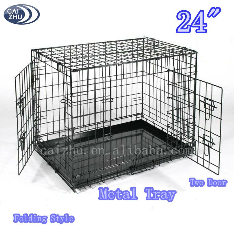 "24"" Two Doors Folding Dog Cage with Metal Panel"